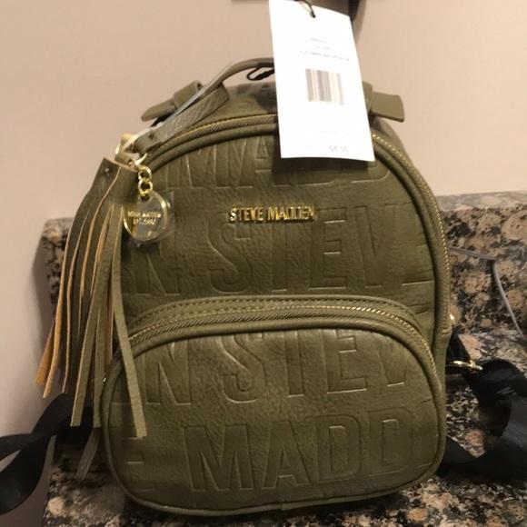 7d8111b088 Steve Madden Bags | Olive Logo Mini Backpack 6800 Nwt | Poshmark